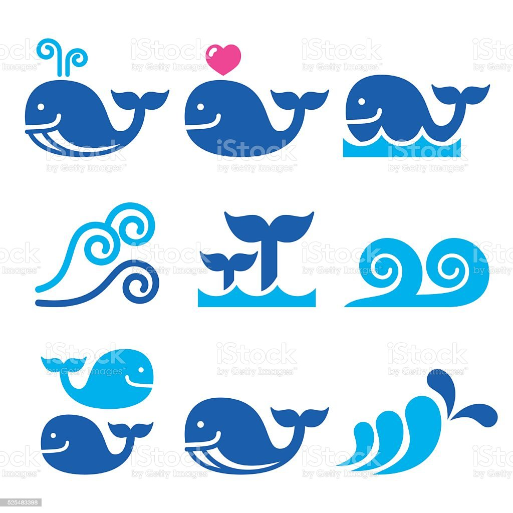 Whale, sea or ocean waves blue icons set vector art illustration
