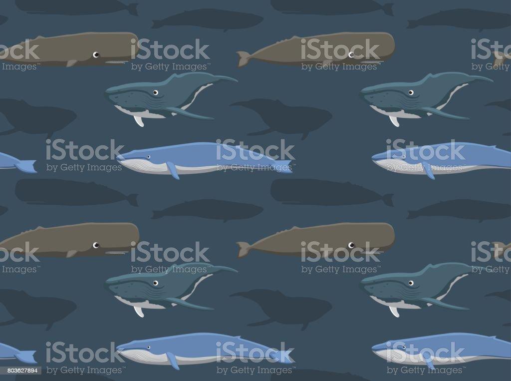 Whale Seamless Wallpaper 2 vector art illustration