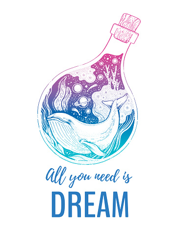 Whale silhouette for t-shirt print with slogan. Hand drawn surreal design for apparel. Blue animal in the bottle, night ocean and text. Vintage vector illustration, sketch isolated on white background