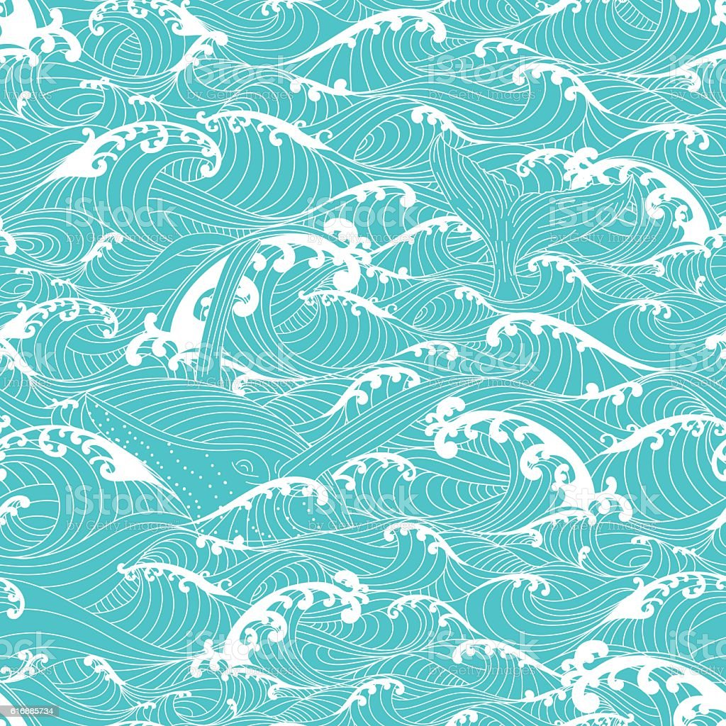 whale swimming in the ocean waves pattern seamless