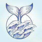 Whale tail in blue sea waves, boho tattoo.