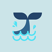 Whale tail in flat style. Vector illustration