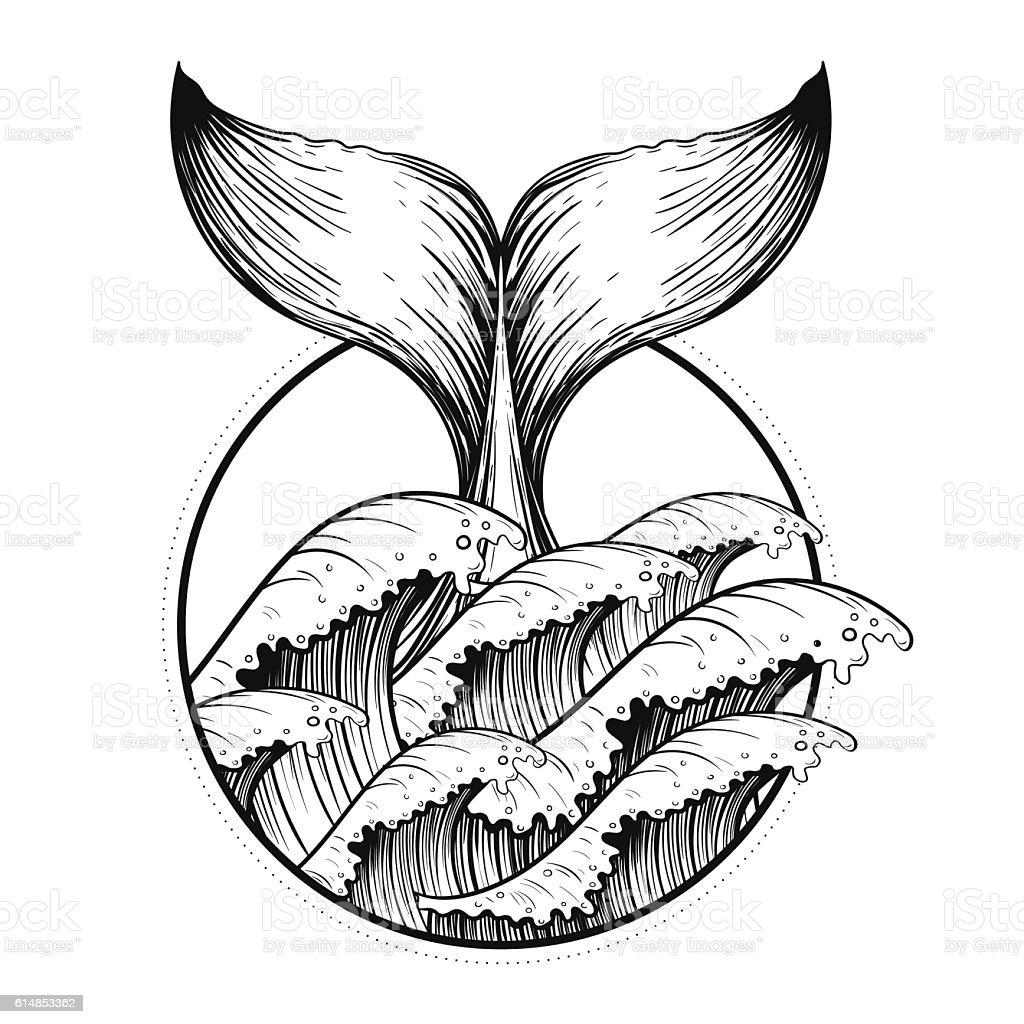 Whale tail in sea waves, boho blackwork tattoo ベクターアートイラスト