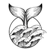 Whale tail in sea waves, boho blackwork tattoo