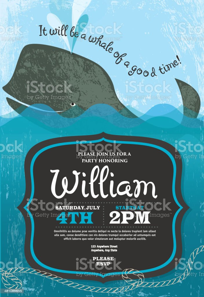 Whale themed party invitation design template royalty-free stock vector art