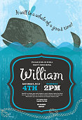 Whale themed party invitation design template