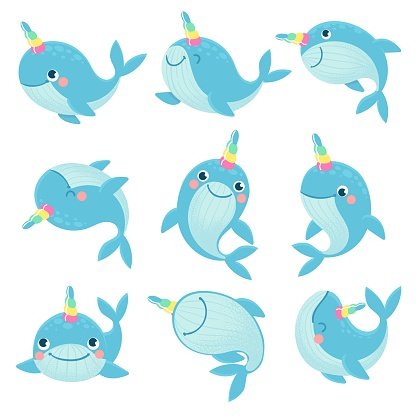 Whale unicorn. Cute marine inhabitants colorful adorable whales unicorns, funny animals childrens anime creatures, cartoon vector characters