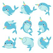 istock Whale unicorn. Cute marine inhabitants colorful adorable whales unicorns, funny animals childrens anime creatures, cartoon vector characters 1256017958