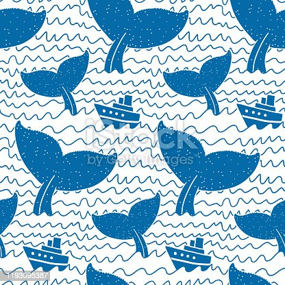 istock Whale Watching seamless pattern, monochrome on white 1193095387