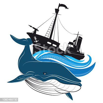 Whaler with harpoon and blue whale