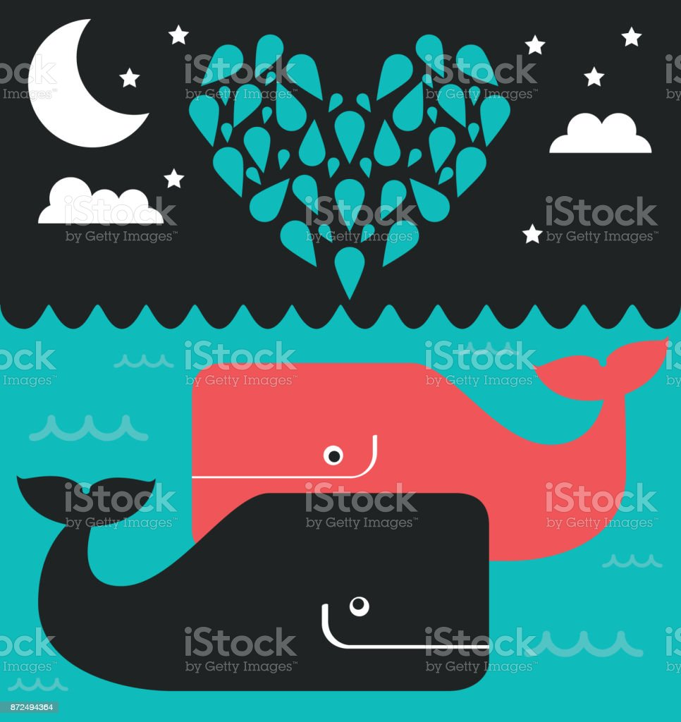 Whales in Love at night vector art illustration