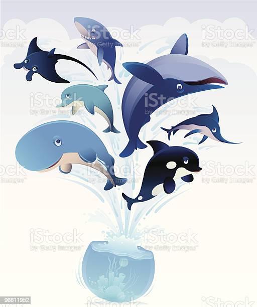 Сша89 За Потери Прыгая От Чаша — стоковая векторная графика и другие изображения на тему Акула