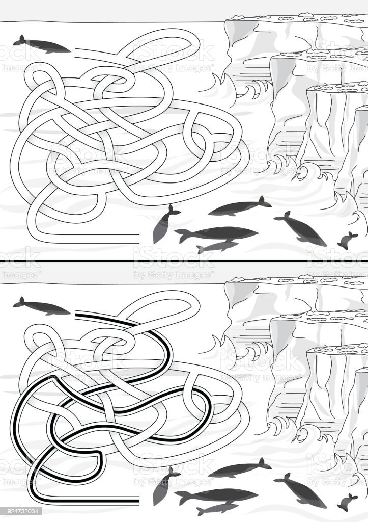 Whales maze vector art illustration