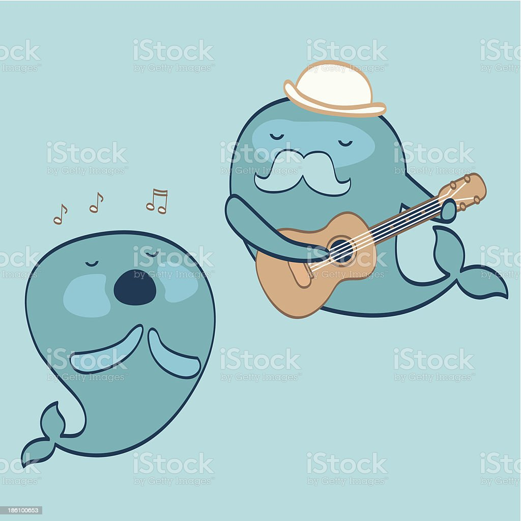 Whales musicians-underwater concert royalty-free stock vector art