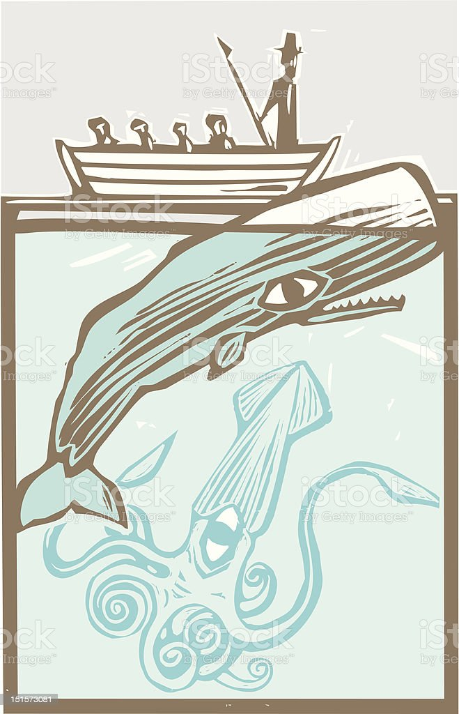 Whaling with Squid royalty-free stock vector art