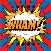 istock Wham Comic Text on Explosion Speech Bubble in Pop Art Style. 1207582950