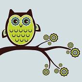 Wide-eyed retro owl