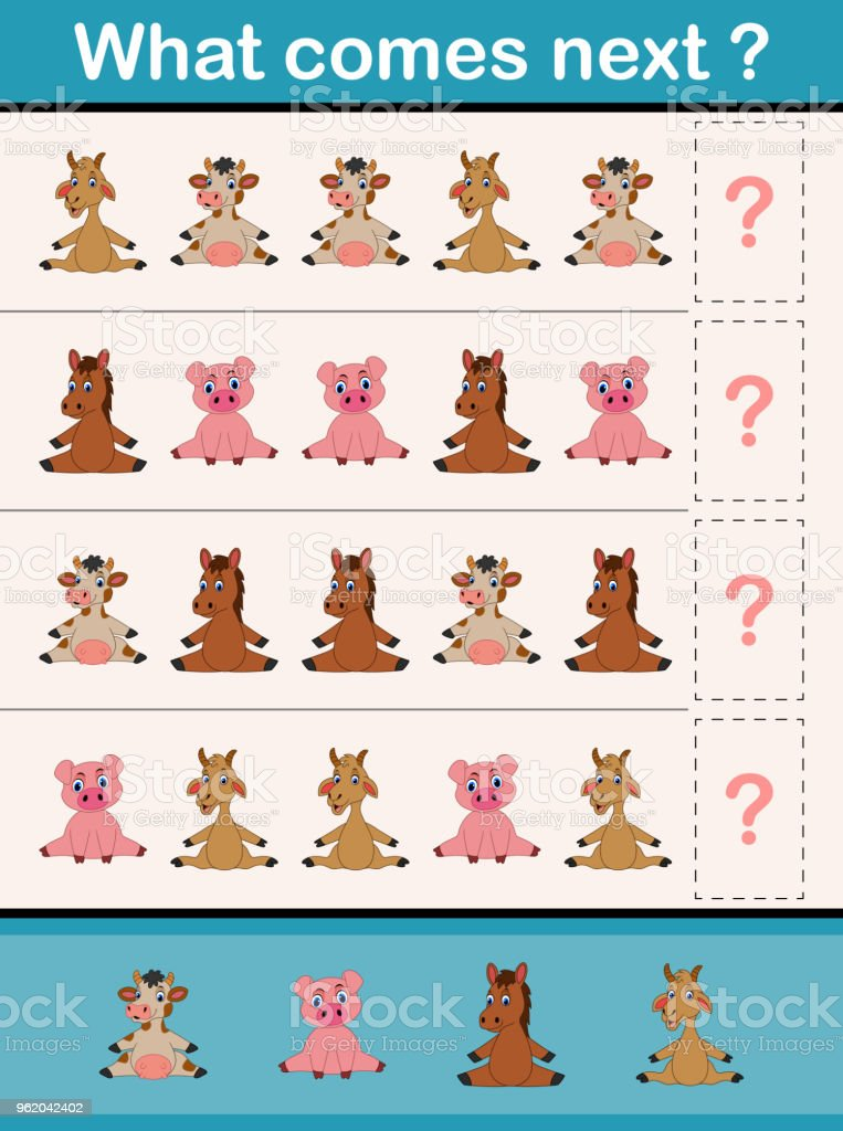 What Comes Next Educational Activity Game For Preschool