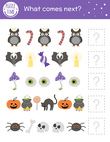 What comes next. Halloween matching activity for preschool children with traditional holiday symbols. Funny educational puzzle. Logical quiz worksheet. Continue the row. Simple autumn game for kids