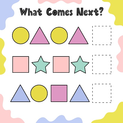 What comes next puzzle for kids. Continue the geometric pattern