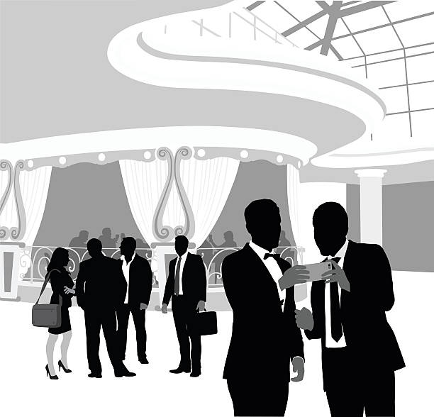 What Happens In Vegas A vector silhouette illustration of two young men in a tuxedo and suit looking at a cell phone standing in an ornate ballroom with a group of adults behind them and a dining room. suave stock illustrations