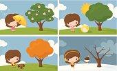 Little girl in 4 seasons.