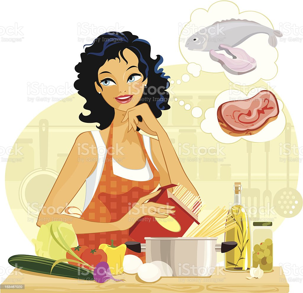 What's cooking? Decisions in the kitchen. vector art illustration