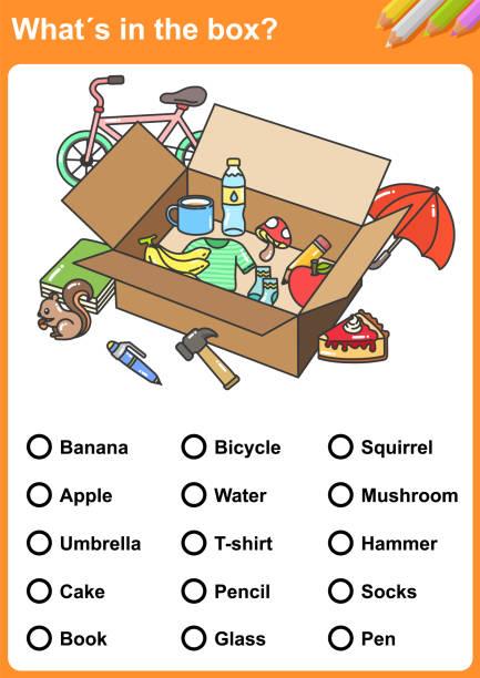 was ist in der box?  finde die gegenstände. -arbeitsblatt für bildung. - schulbedarfskuchen stock-grafiken, -clipart, -cartoons und -symbole