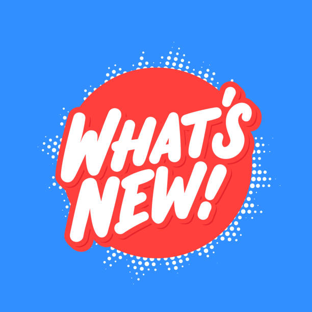 ilustrações de stock, clip art, desenhos animados e ícones de what's new. vector lettering banner. - new
