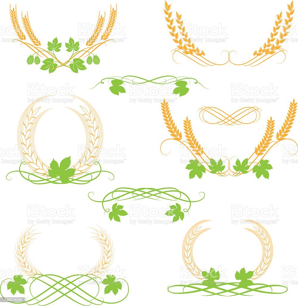 wheat and hop royalty-free stock vector art