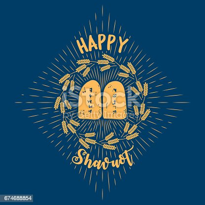 istock Wheat and Ten Commandments. Concept of Judaic holiday Shavuot. Happy Shavuot. Israel holiday 674688854