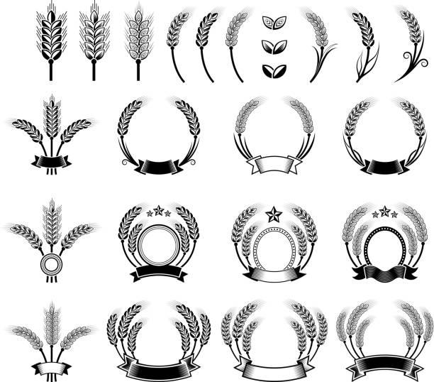 weizen gerste kranz schwarz und weiß, vektor icon-set - dinkelbrot stock-grafiken, -clipart, -cartoons und -symbole
