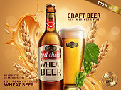 Wheat beer ads, beer bottle and glass with attractive beer and ingredients behind them, 3d illustration on glitter bokeh background