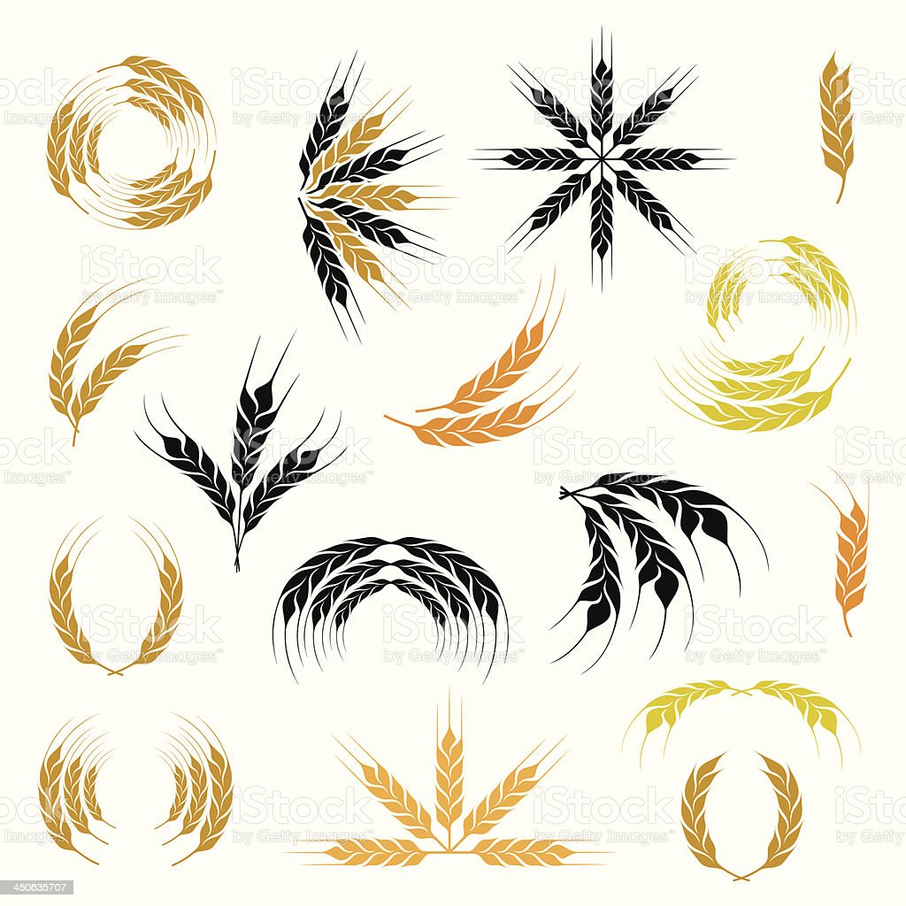 Wheat ear icon and wreath set royalty-free stock vector art