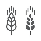 Wheat ear line and glyph icon, farming and agriculture, grain sign vector graphics, a linear pattern on a white background, eps 10.
