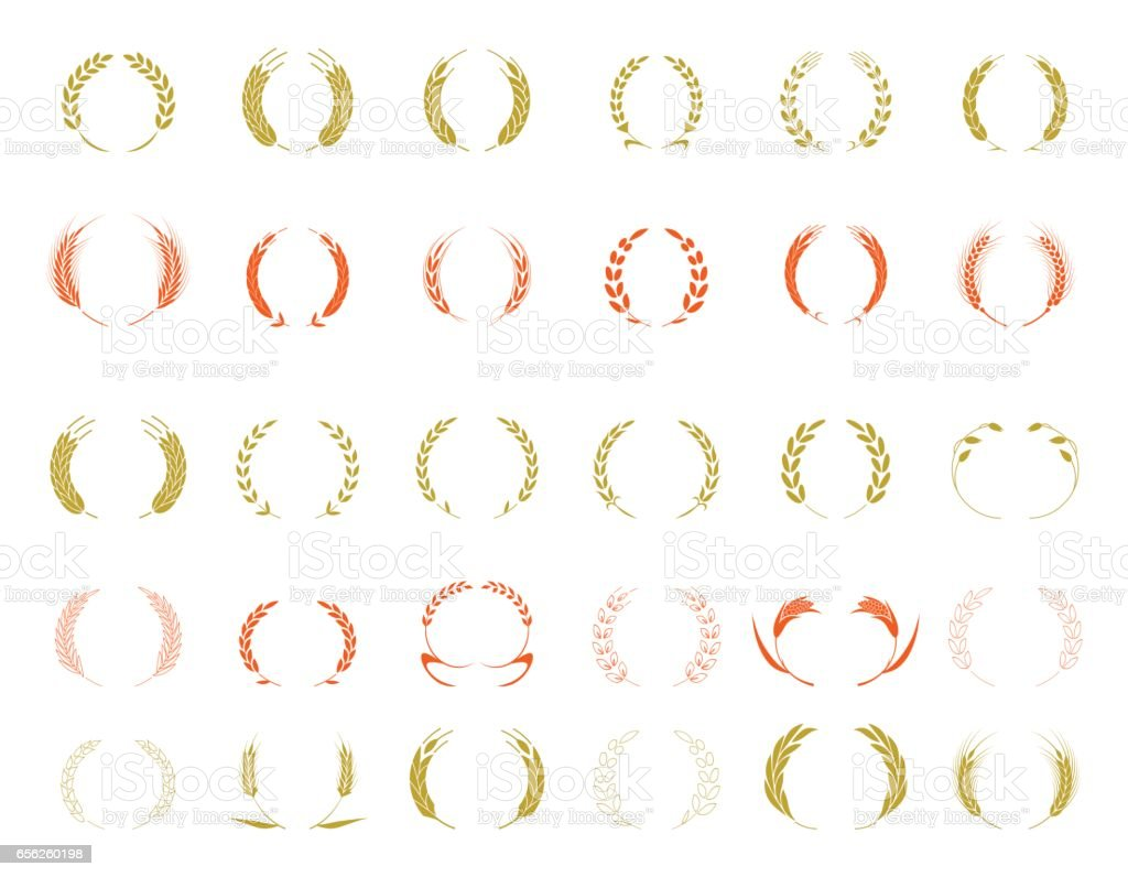 Wheat ear symbols vector art illustration