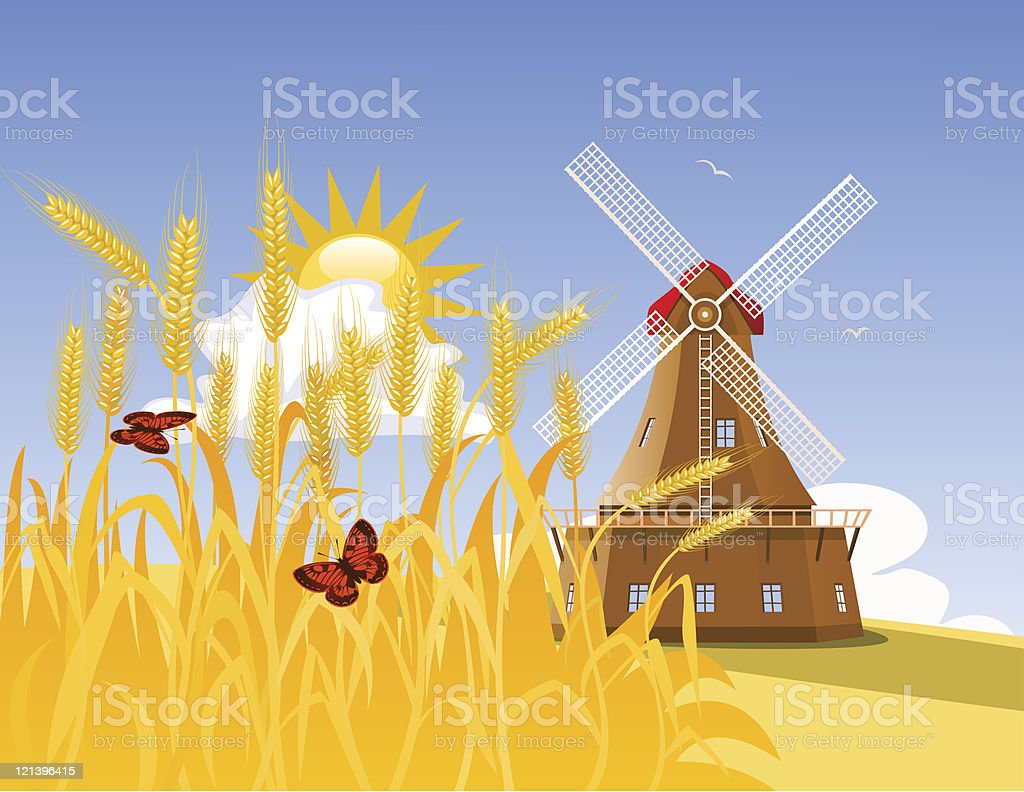 Wheat field and mill royalty-free wheat field and mill stock vector art & more images of agriculture