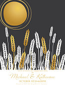 Wheat Field and Sun Agriculture Engagement Party Invitation With Gold