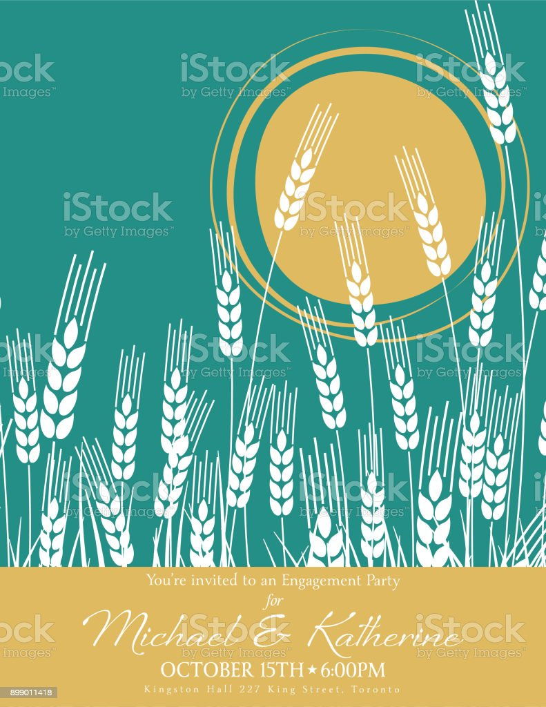 Wheat Field and Sun Agriculture Engagement Party Invitation With Gold vector art illustration