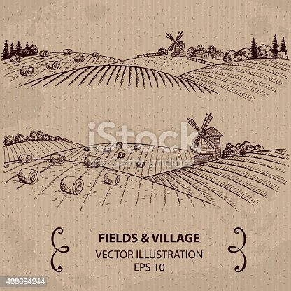 istock Wheat Fields with Haystacks and Windmill. 488694244