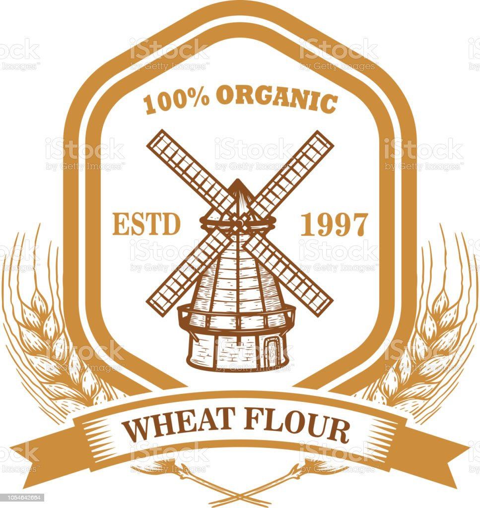 wheat flour label template with wind mill design element for emblem