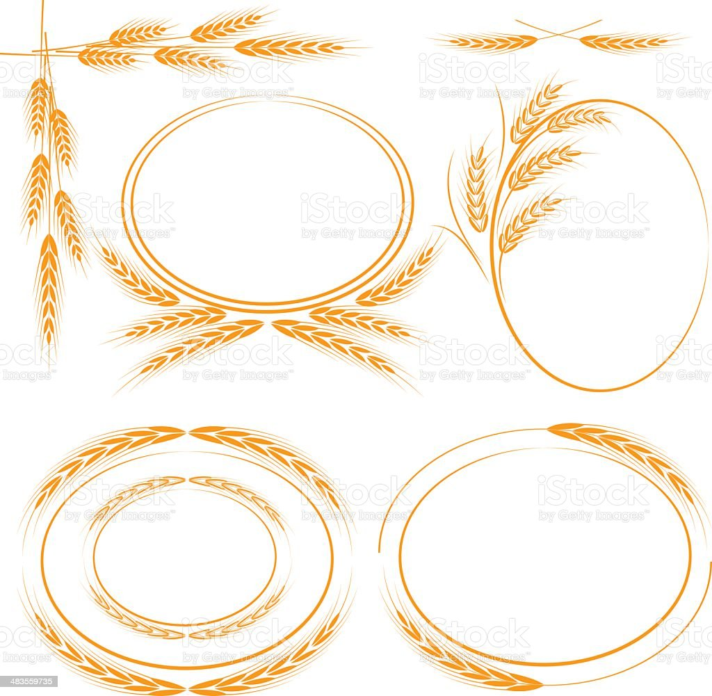 Wheat frames vector art illustration