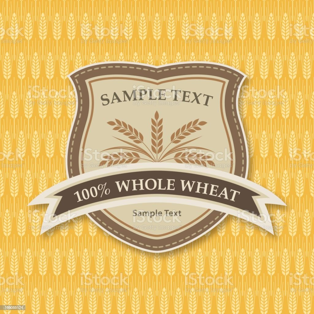 Wheat & Grain Label On Pattern Background royalty-free stock vector art