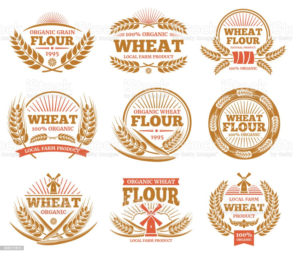 Wheat grain product and bread vector labels. Nature wheat ears badges vector art illustration