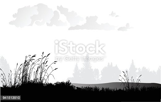 Illustration in black and white of a plain or large meadow