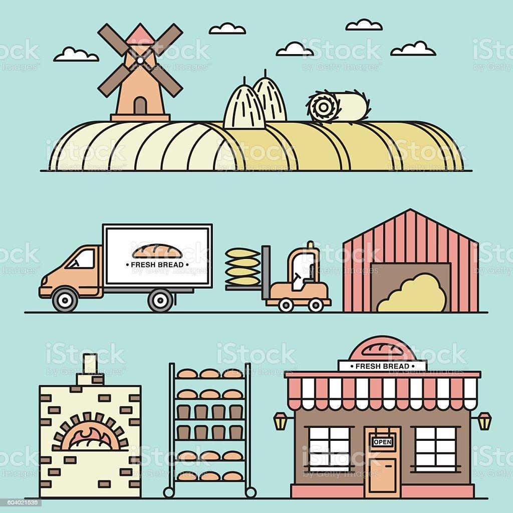 Wheat harvesting proccess illustration. vector art illustration