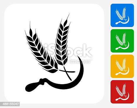 Wheat Icon. This 100% royalty free vector illustration features the main icon pictured in black inside a white square. The alternative color options in blue, green, yellow and red are on the right of the icon and are arranged in a vertical column.