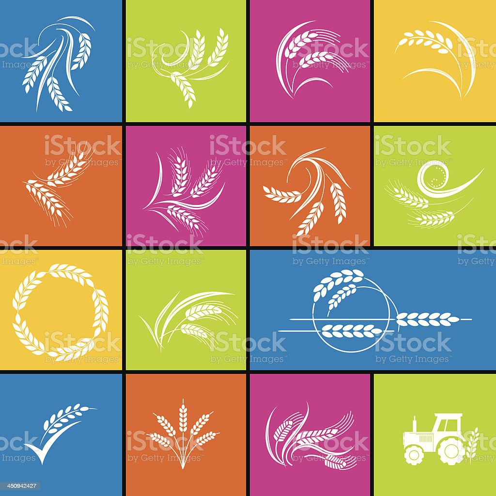 Wheat Icon Set In Bold Colors vector art illustration