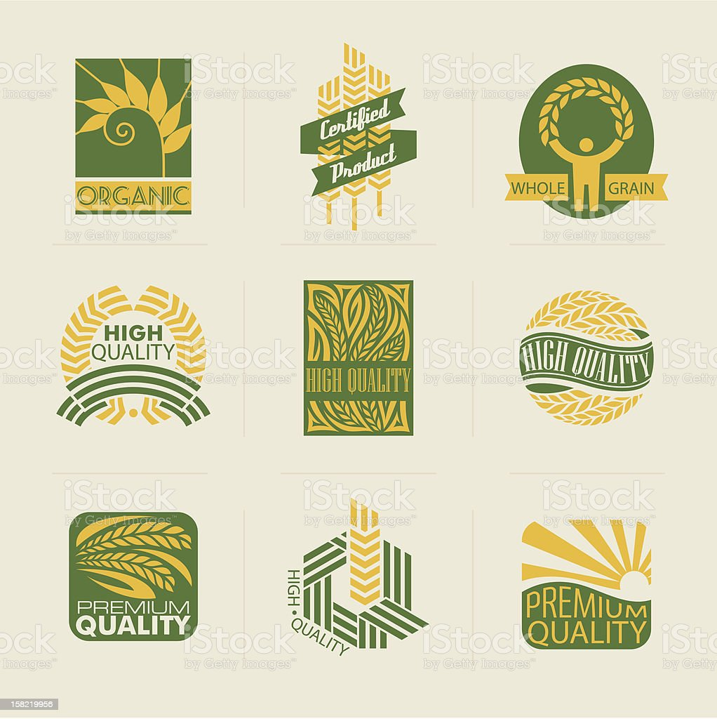 Wheat labels and badges. Elements for design. royalty-free wheat labels and badges elements for design stock vector art & more images of agriculture