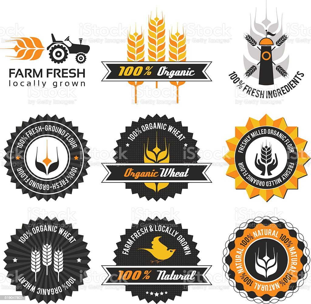 wheat production label set vector art illustration